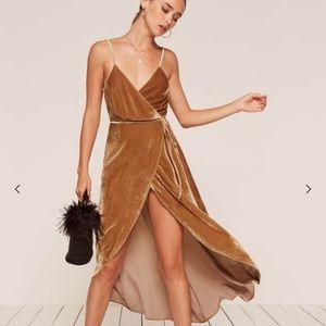 Reformation Anoush Gold Velvet Dress Size Small